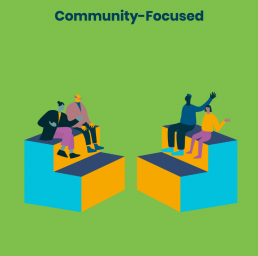 Illustration of 4 people sitting on blocks with the words 'Community - Focused' for Near Future Teaching blog post